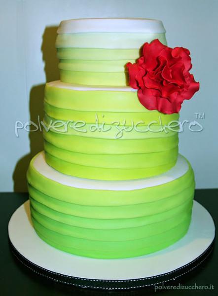 Torta matrimonio ombre verde