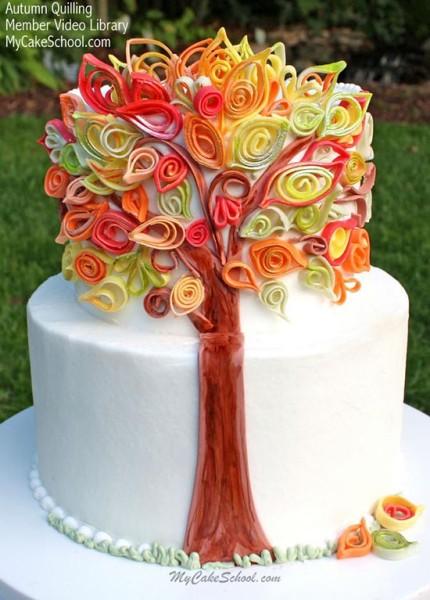torta matrimonio autunnale con albero in quilling