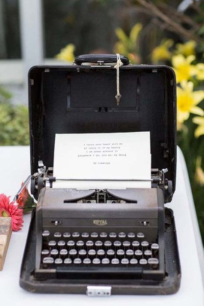 Macchina da scrivere come guestbook