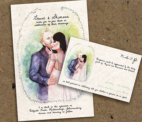 Partecipazioni acquerello con illustrazione degli sposi