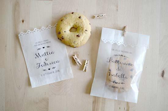 Sacchetti confettata personalizzati con nomi e frase di ringraziamento