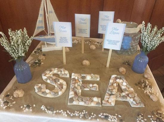 tableau mariage a tema mare con sabbia e conchiglie
