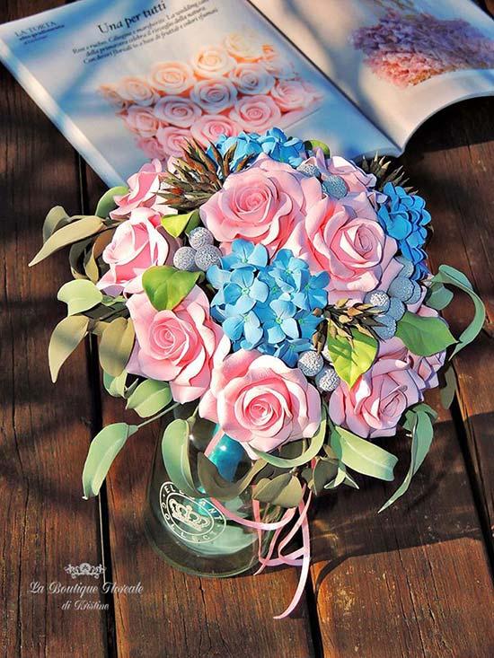 Bouquet sposa rosa e azzurro con ortensie e rose
