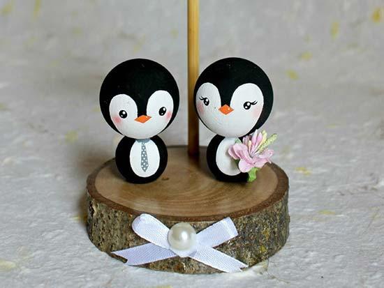 matrimonio invernale cake topper pinguini