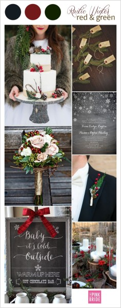 palette colori matrimonio invernale rosso e verde
