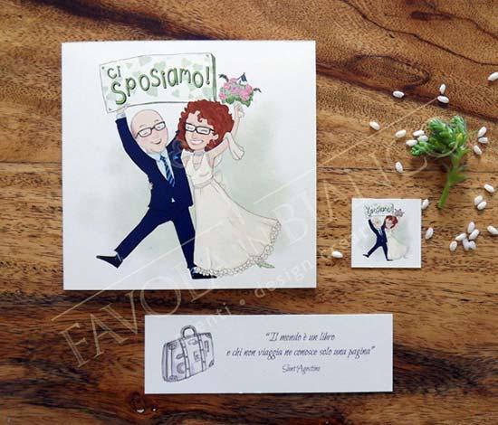 partecipazioni matrimonio spiritose caricatura sposi