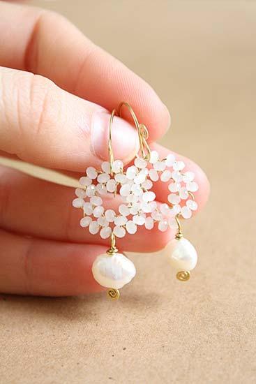 orecchini da sposa pendenti perle cristalli bianchi