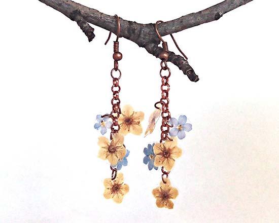 orecchini lunghi sposa fiori veri boho chic