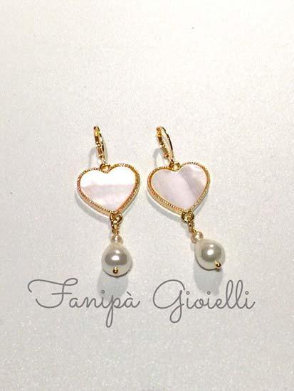 orecchini sposa pendenti cuore perle