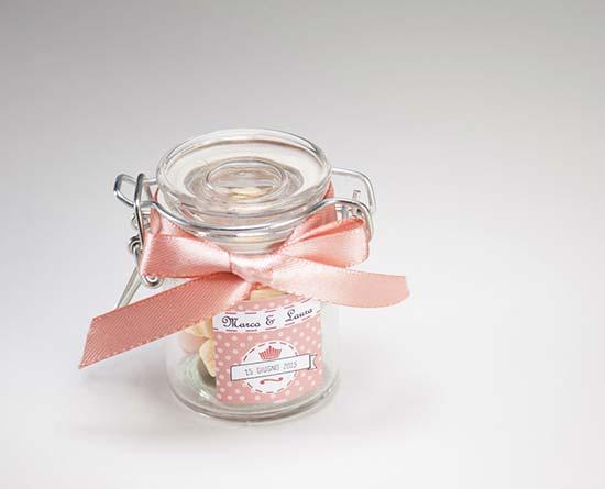 bomboniere con vasetti di vetro matrimonio