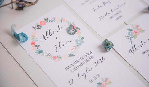 partecipazioni floreali moderne calligrafia