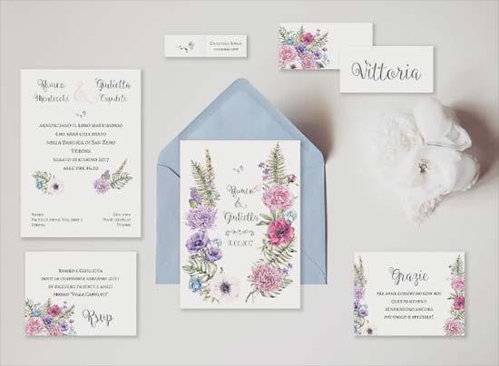 partecipazioni floreali vintage fiori viola