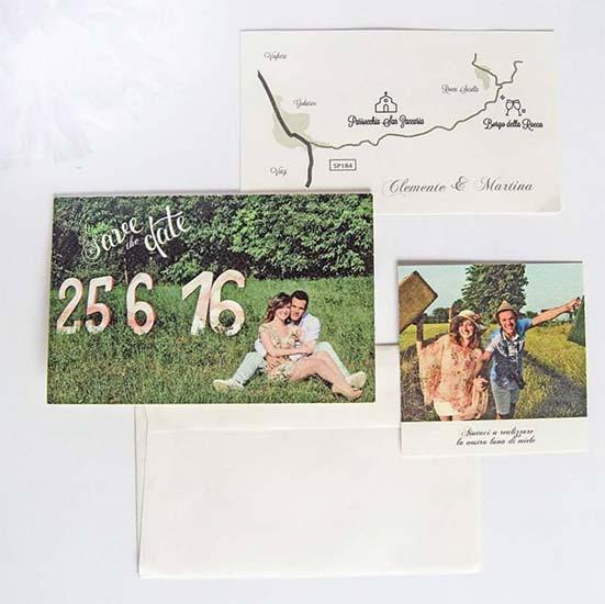 partecipazioni matrimonio country chic con foto