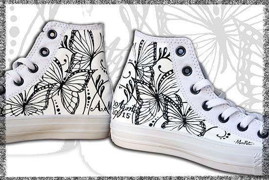 scarpe sposa originali converse farfalle