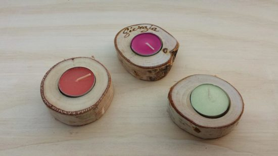 candele segnaposto legno