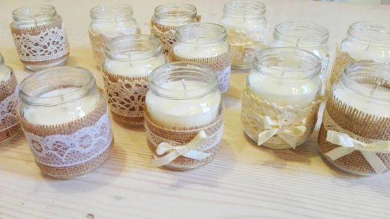 candele segnaposto matrimonio shabby