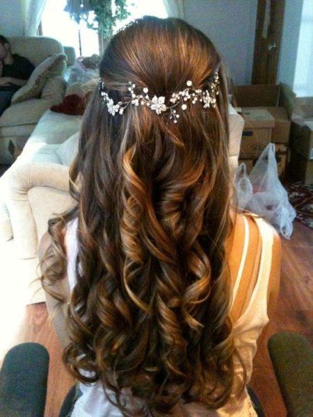 semiraccolto sposa capelli lunghi