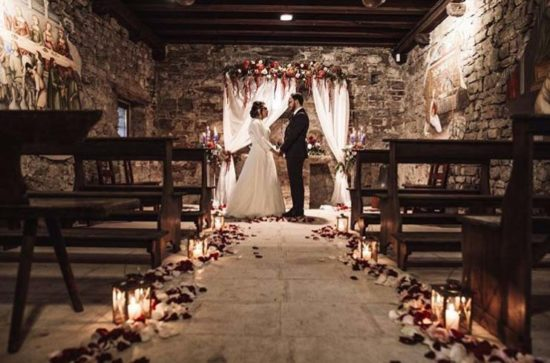 allestimento matrimonio chiesa autunno