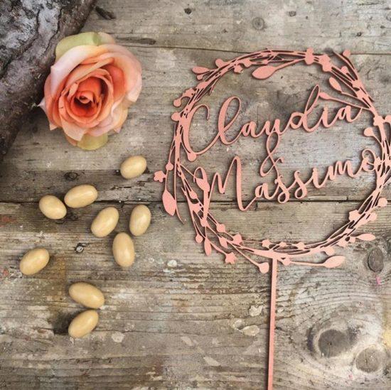 cake topper scritte personalizzate nomi sposi