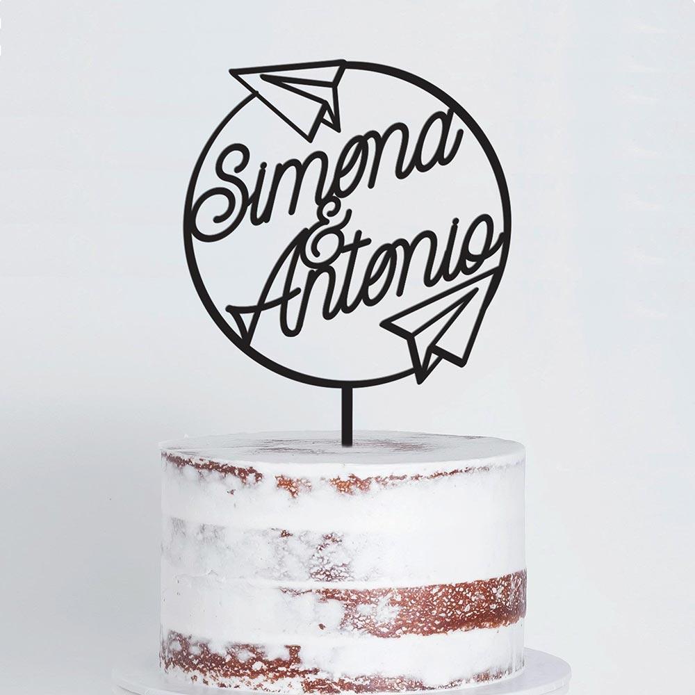 cake topper scritte personalizzate matrimonio a tema viaggio