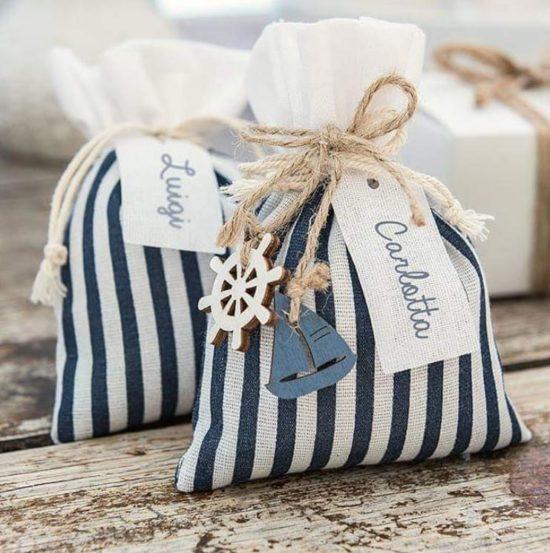 bomboniere matrimonio tema mare sacchetti portaconfetti