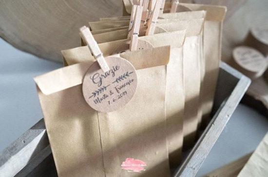 sacchetti per confettata matrimonio con tag