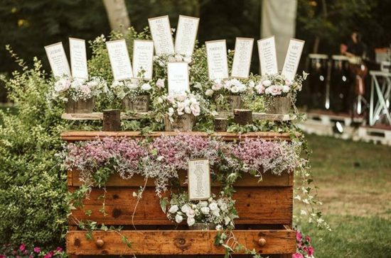 tableau matrimonio con tema fiori