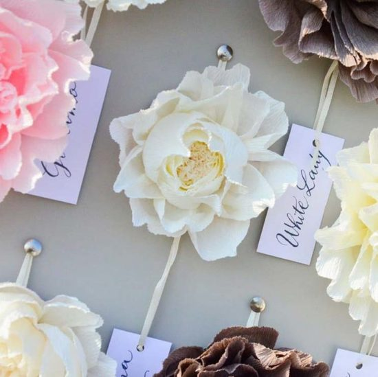 tableau matrimonio tema fiori con fiori di carta