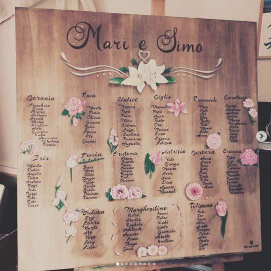 tableau matrimonio tema fiori legno