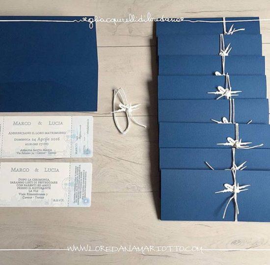partecipazioni matrimonio biglietti aerei blu