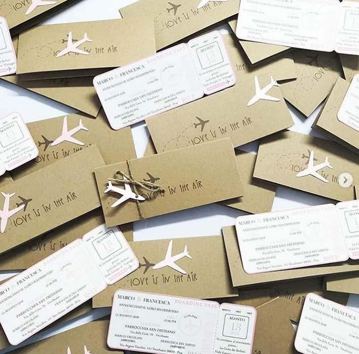 partecipazioni matrimonio biglietto aereo